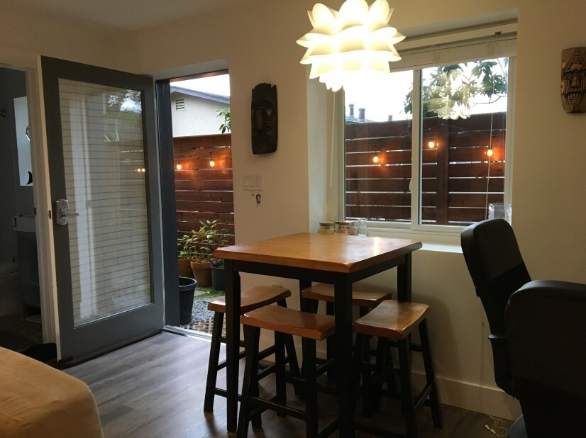 dining area, entrance &private patio