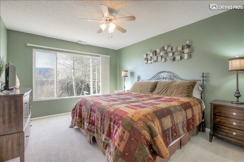 Spacious master bedroom w/oversized window for all day sun