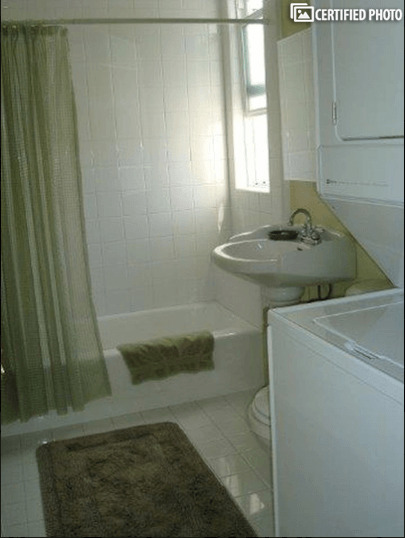 Tub with Shower and Full-Sized Washer and Dryer