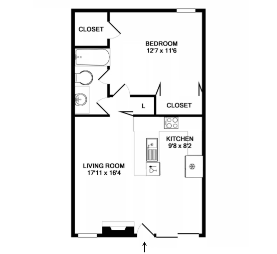 With 608 sq. ft. space to offer in a 1-bedroom, 1-bath capac