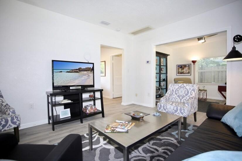 "Living room has 42"" TV, Roku streaming, & antenna TV."