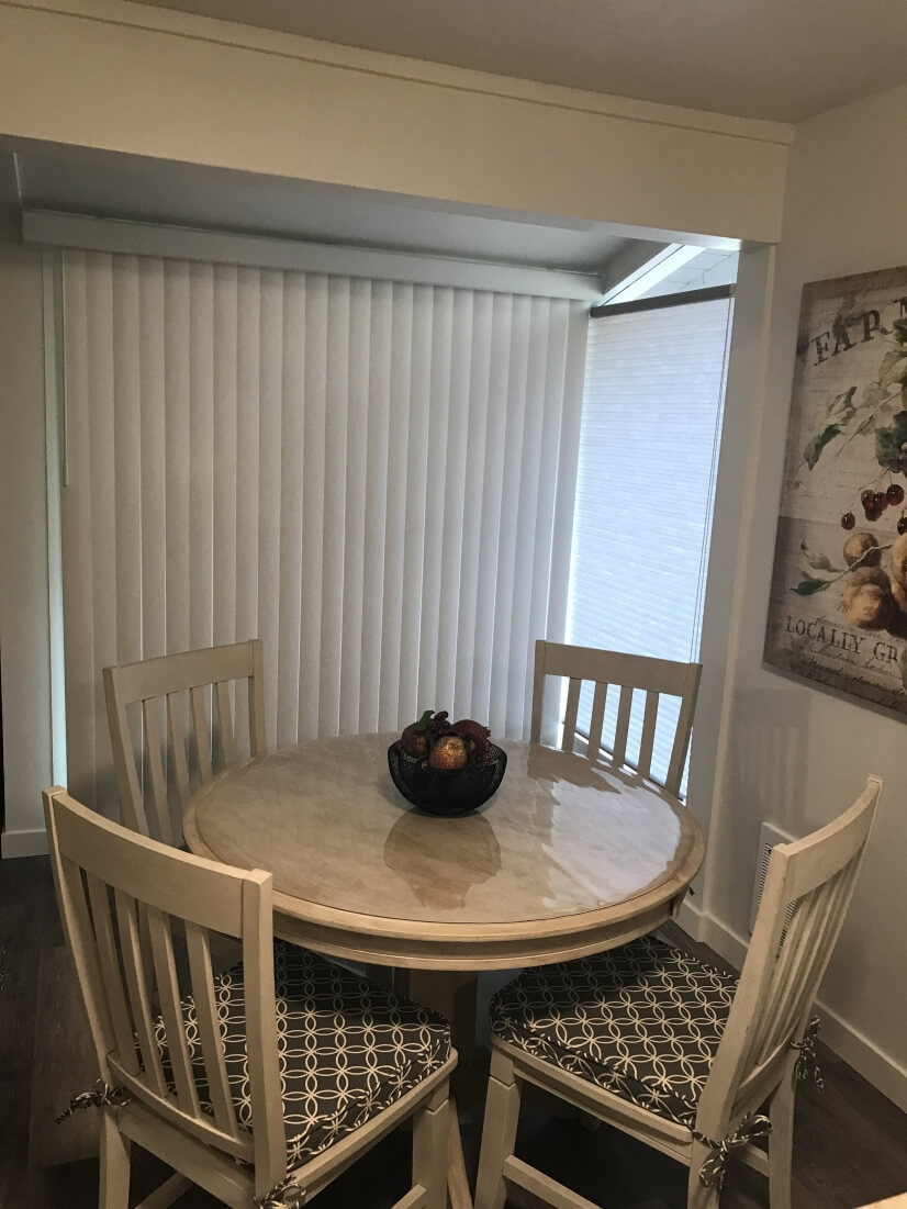 Dining area with slider to deck