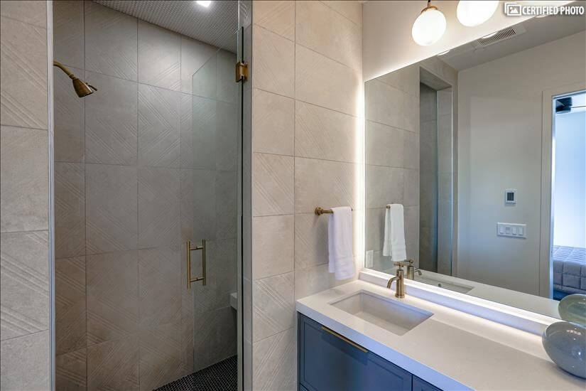 Guest bathroom shower with built in seat!