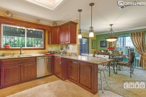 Kitchen, granite Counter tops/eating Bar.  Mo