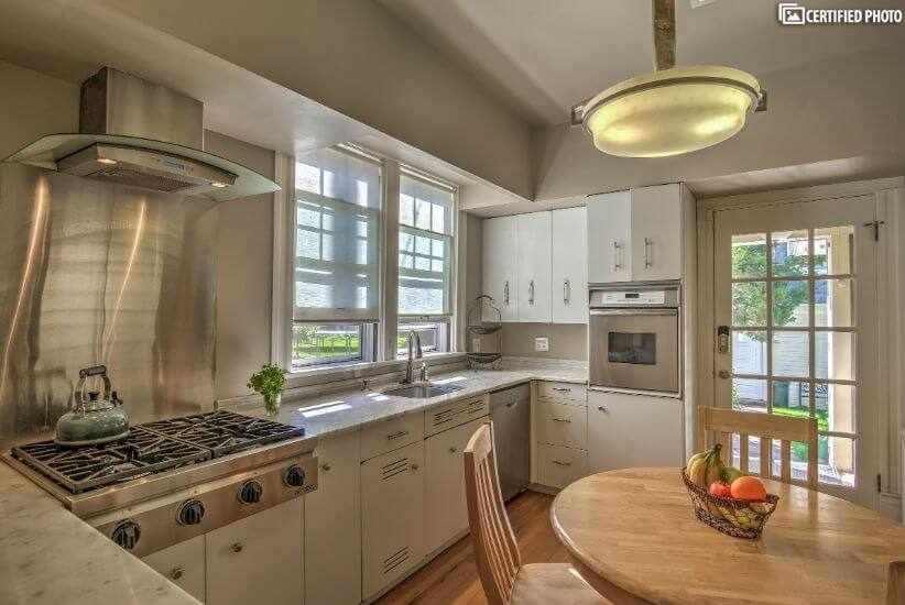 Beautiful kitchen with gas stove top