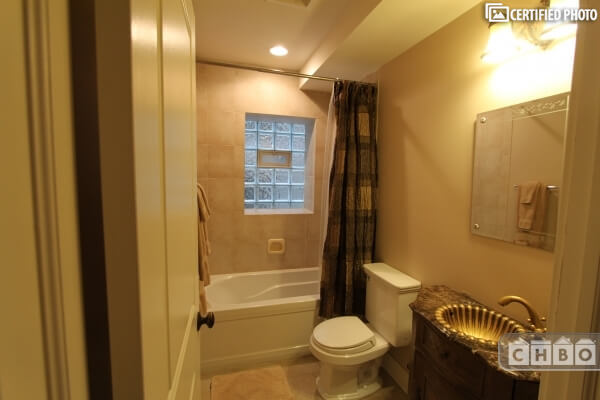 Hall bath with shower and tub.