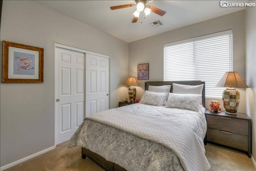 Comfortable 2nd bedroom downstairs with queen size bed