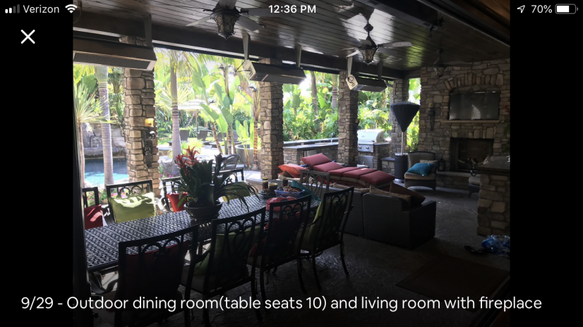 Outdoor dining room(table seats 10) and living room