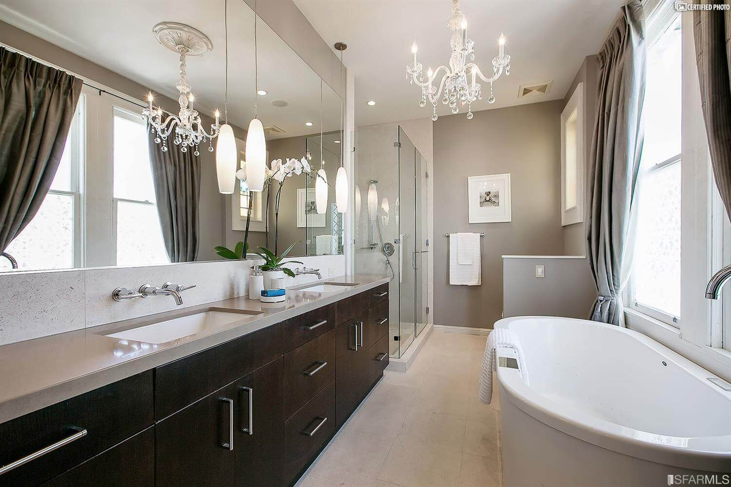 Modern and historic together...master bath