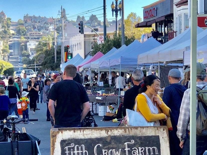 farmers market, 2 blocks down the street