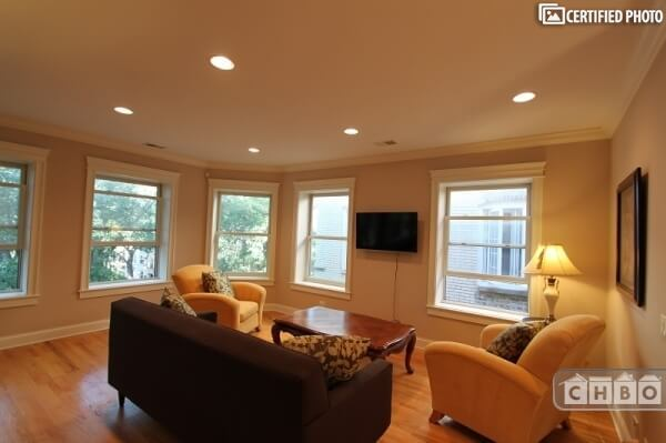 Plenty of light fills this spacious living area.....