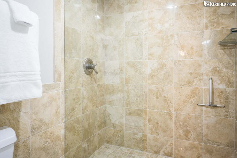 Shower with Travertine Tile