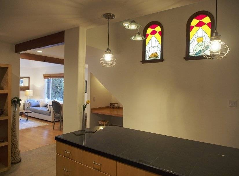 kitchen view-stained glass windows