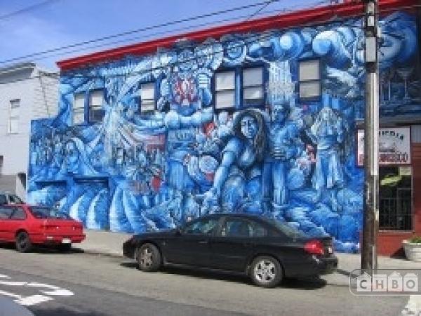 Artistic street wall murals