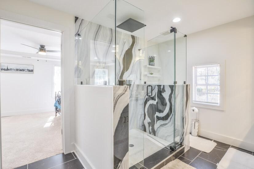 Inviting Spa Shower in Master Bathroom