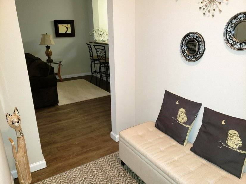 Hallway between living area and bedrooms