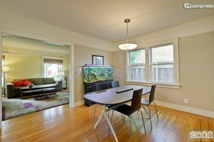 Dining room with natural light.  Fish tank not included