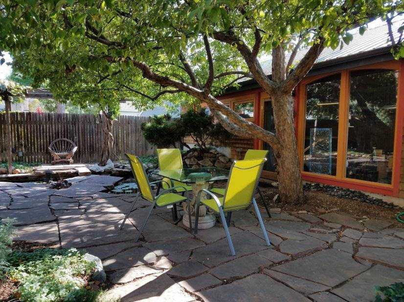 Patio with Studio/Garage Exterior