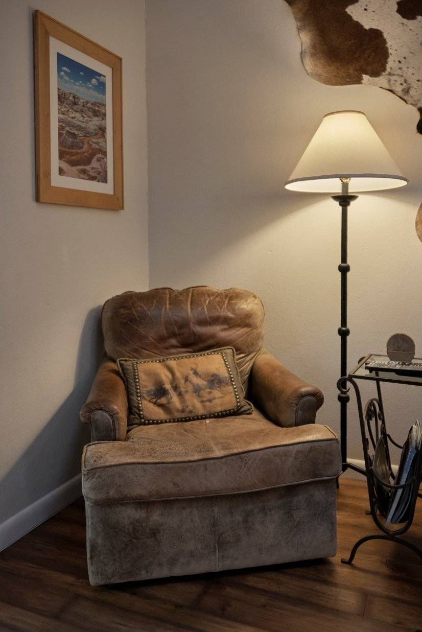 Comfortable distressed leather chair - living room