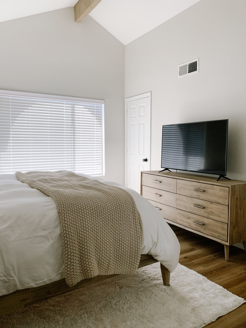 Tranquil bedroom with Smart TV