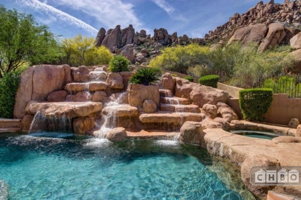 Pool and spa with water fall