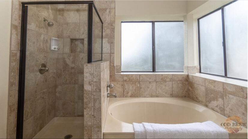 Garden 'soaking' tub and walk in shower