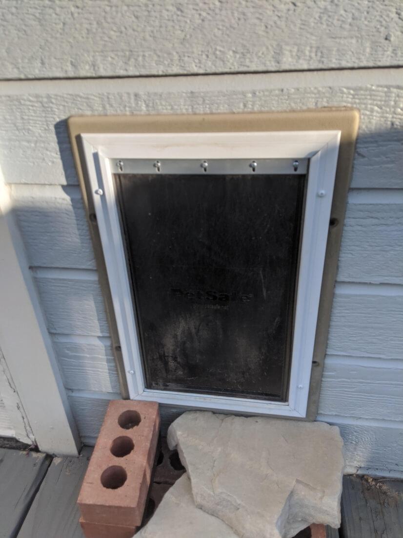 Exterior view of pet door