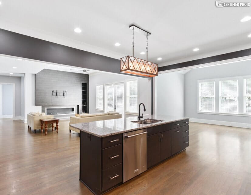 kitchen with generous central island