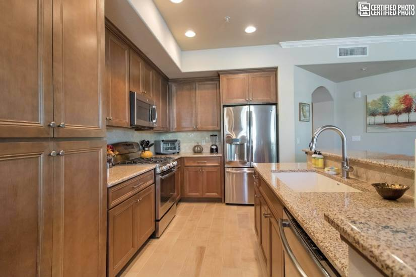 Kitchen- granite counters and stainless steel appliances