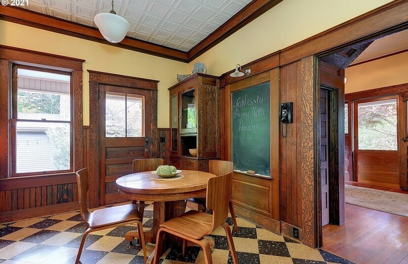Eat-In kitchen area with chalkboard.