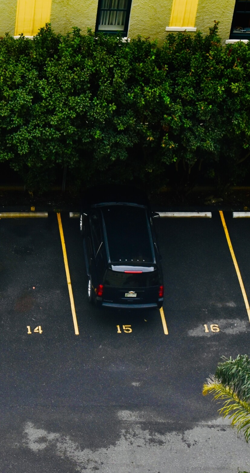 reserved parking spot seen from window