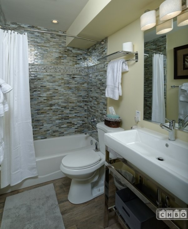 Newly remodeled glass bathrooms.