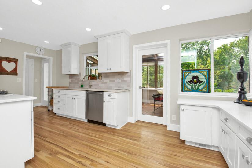 Kitchen with sunroom adjacent