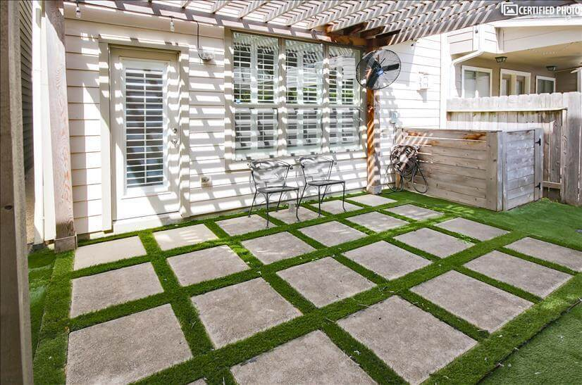 Backyard with installed turf