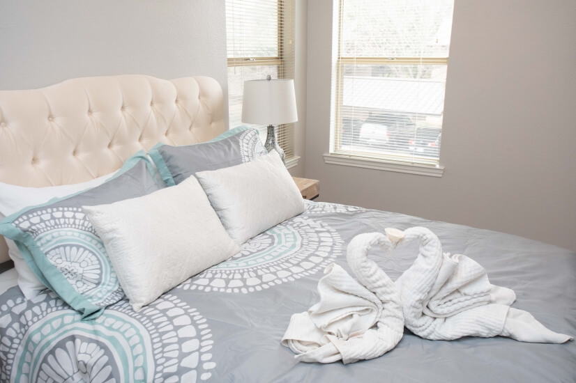 This is our wonderful Queen bed, swan-style!