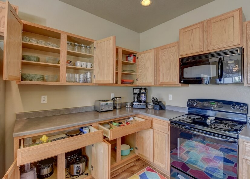 Ready for anything in this fully stocked kitchen.