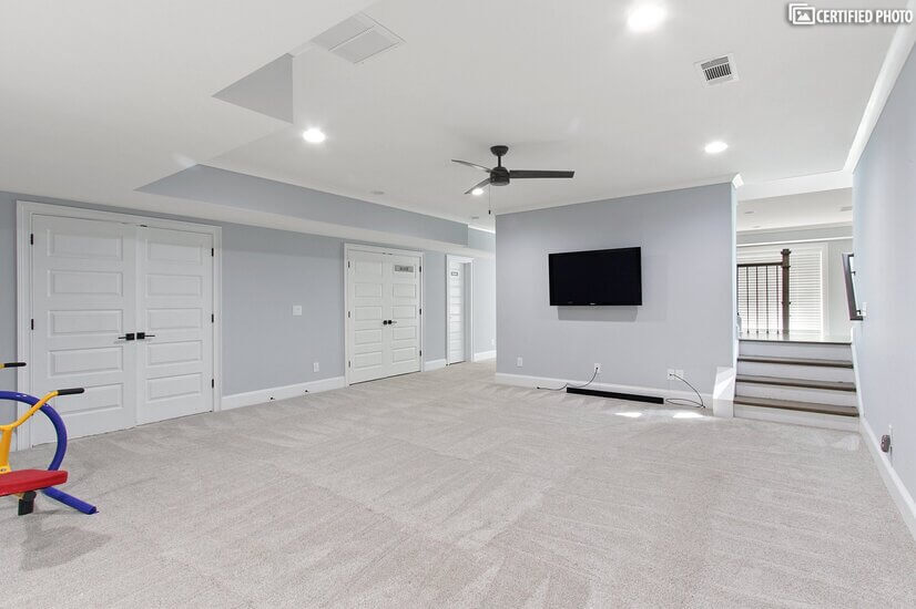 sitting area in the basement