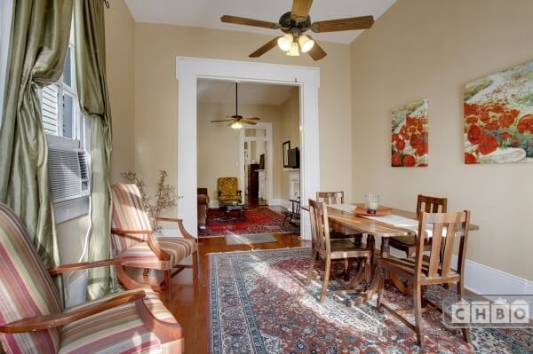 Bright, open double parlor