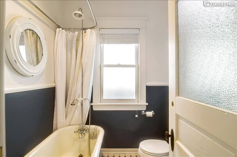 Quest bath with full shower and claw foot tub
