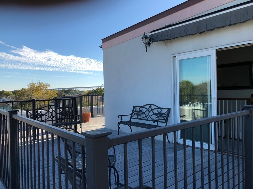 private penthouse deck. retractable awning
