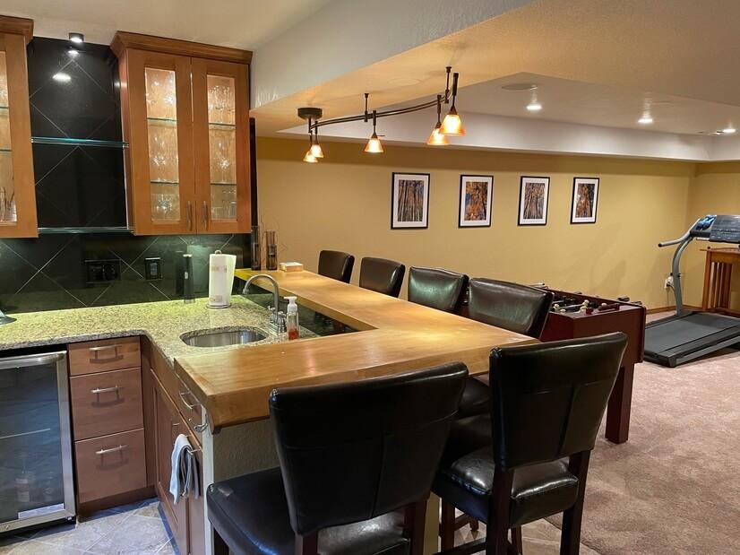 Downstairs bar and mini-fridge