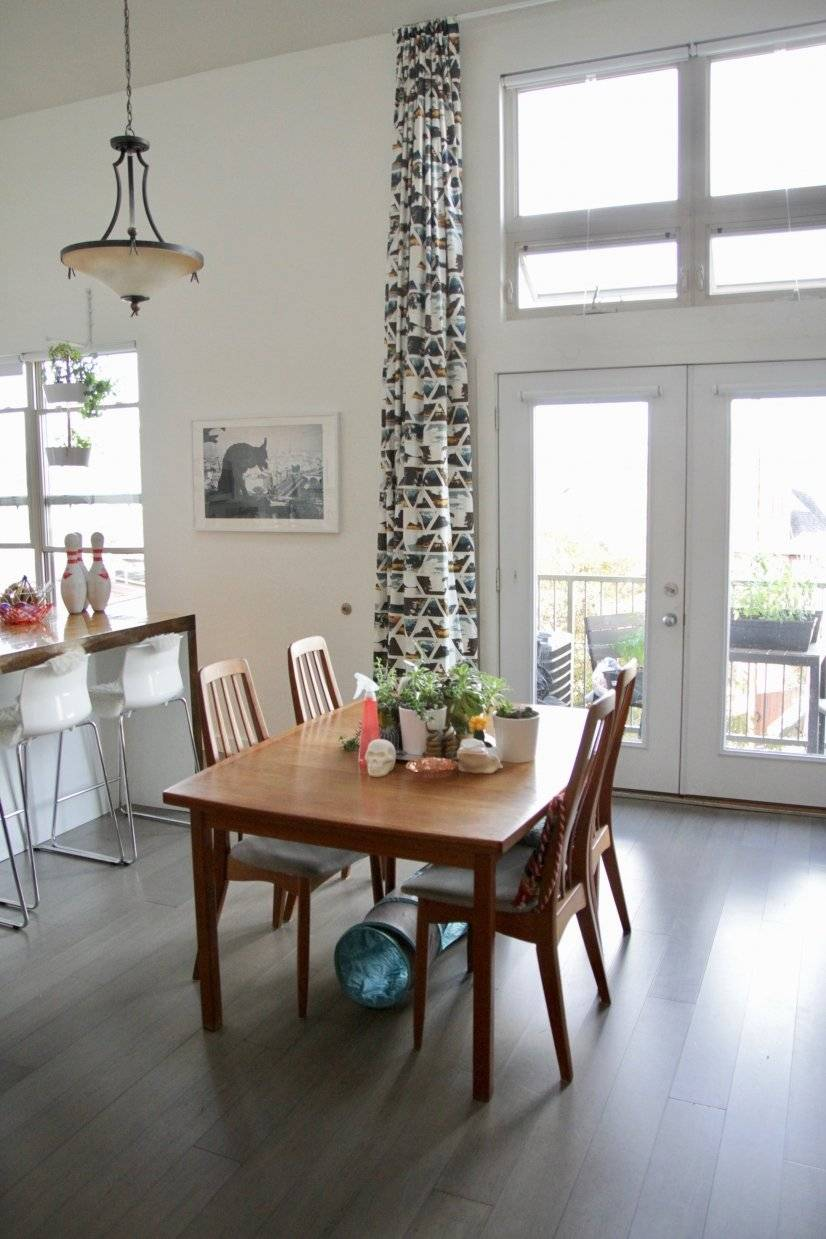 Dining table and double height ceilings