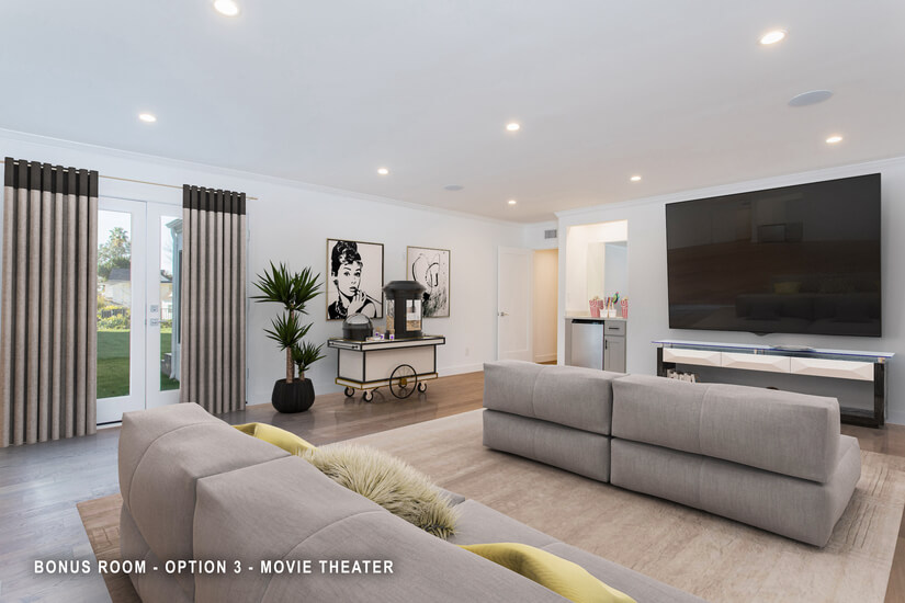 Bonus Room - Movie Theater - Virtually Staged