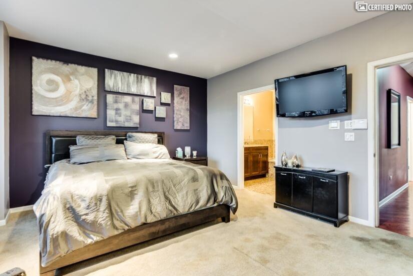 Master Bedroom-custom paint, T.V. & Stereo Surround Sound