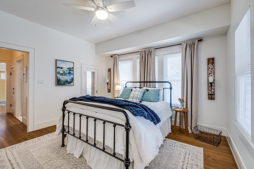 First floor bedroom has Queen bed