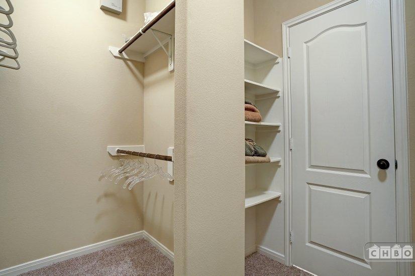 Built in shelving in master closet