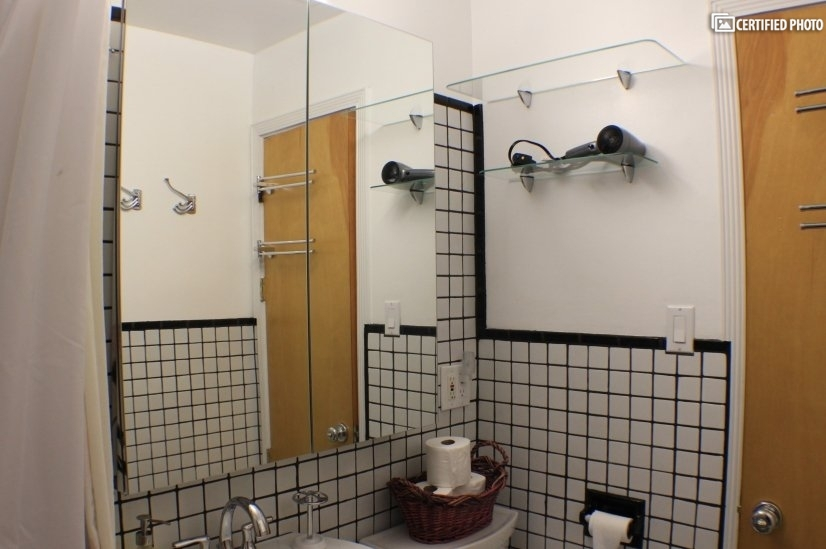 Bathroom from tub toward Cabinet, shelves and hair dryer