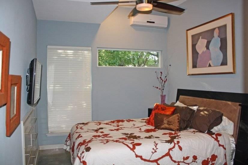 Bedroom, queen bed, custom built-in dresser, TV with cable