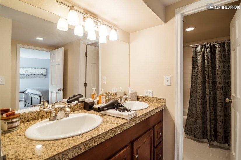 Granite bathroom countertop with double sink