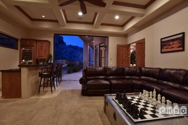 Rec room and bar with direct access to pool area